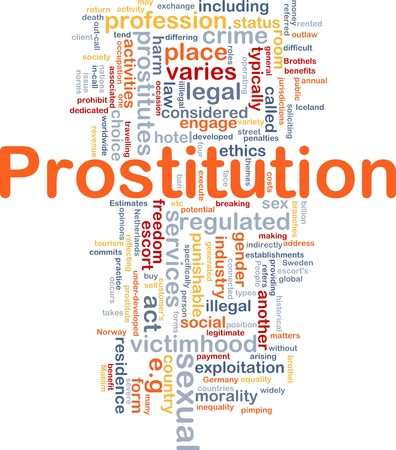 punishable: Background concept wordcloud illustration of prostitution