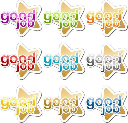 Good job child school education motivation sticker icon set Stock Photo - 9550049
