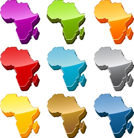 Africa continent map icon button multicolored illustration set Stock Illustration - 9550032