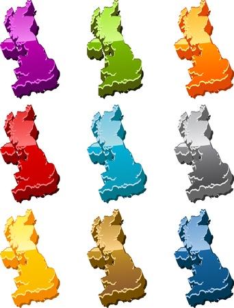 United Kingdom country map icon button multicolored illustration set illustration