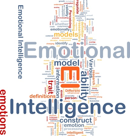 inteligencia emocional: Ilustraci�n de wordcloud concepto de fondo de la inteligencia emocional Foto de archivo