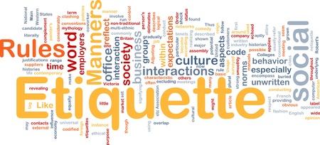 interactions: Achtergrond concept wordcloud illustratie van etiquette