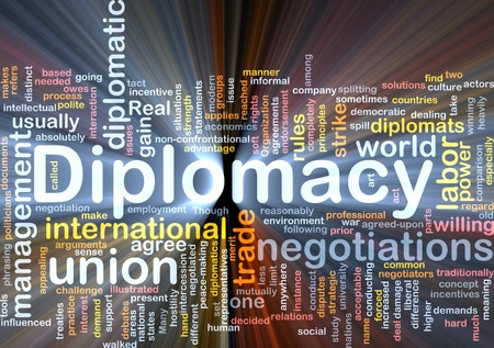 endorsement: Background concept wordcloud illustration of diplomacy glowing light