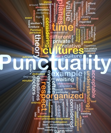 punctuality: Background concept wordcloud illustration of punctuality glowing light