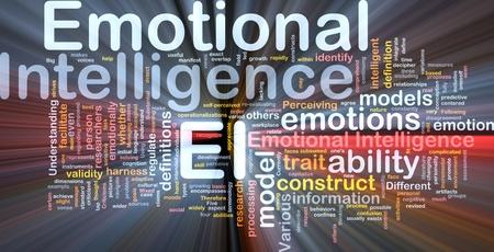 Illustrazione di wordcloud sfondo concetto di luce incandescente di intelligenza emotiva