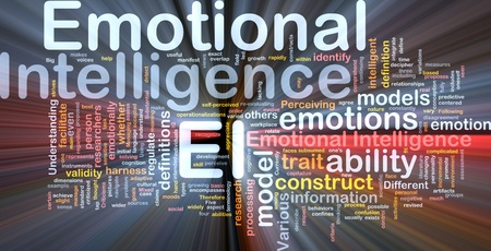 inteligencia emocional: Ilustración de wordcloud concepto de fondo de luz brillante inteligencia emocional Foto de archivo