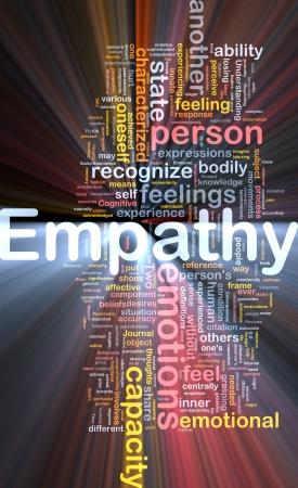 empatia: Ilustraci�n de wordcloud concepto de fondo de la luz brillante de empat�a