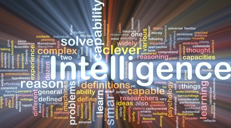 Background concept wordcloud illustration of intelligence glowing light Stock Illustration - 9550070