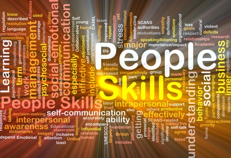 interactions: Achtergrond concept wordcloud illustratie van mensen vaardigheden gloeiend licht Stockfoto