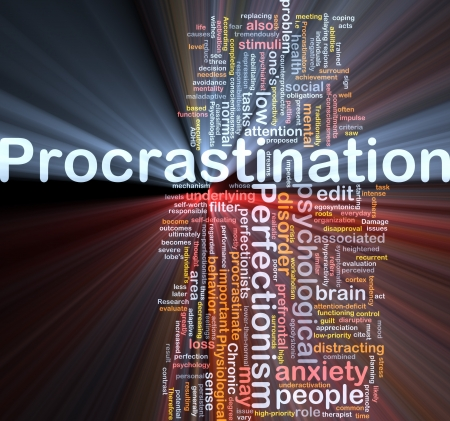 deficit: Procrastination background concept glowing light Stock Photo