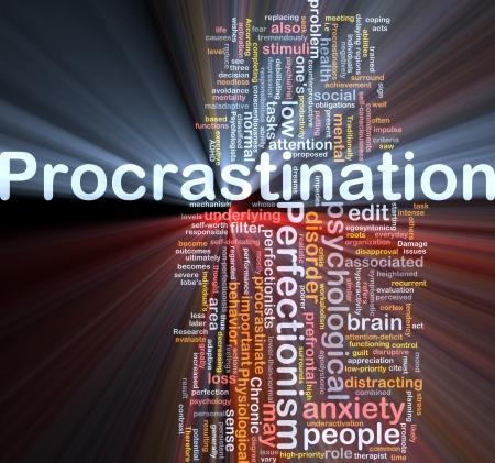 mood: Procrastination background concept glowing light Stock Photo