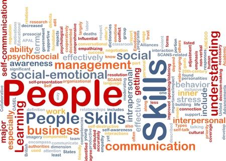 interactions: Achtergrond concept wordcloud illustratie van mensen vaardigheden