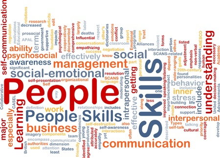 psycho social: Background concept wordcloud illustration of people skills Stock Photo