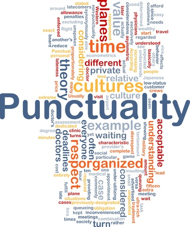 punctuality: Background concept wordcloud illustration of punctuality