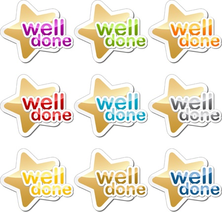done: Well done child school education motivation sticker icon set