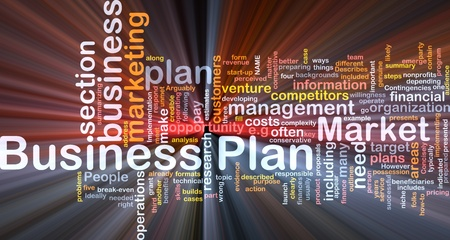 Background concept wordcloud illustration of business plan glowing light illustration