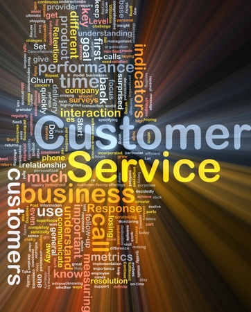 customer facing: Background concept wordcloud illustration of customer service glowing light