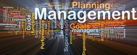 Background concept wordcloud illustration of management glowing light Stock Illustration - 9550092