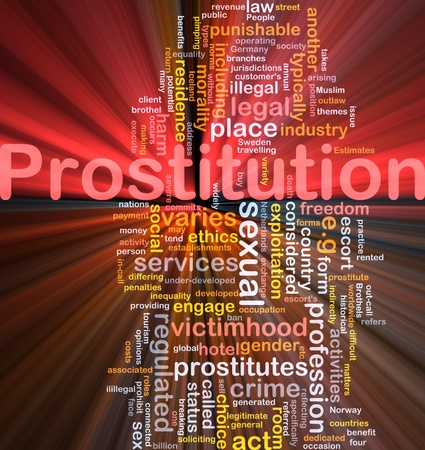 prostitution: Background concept wordcloud illustration of prostitution glowing light