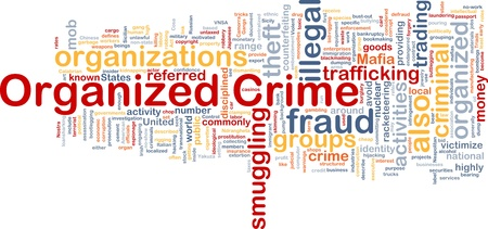 definitions: Background concept wordcloud illustration of organized crime