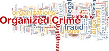 definici�n: Ilustraci�n de wordcloud concepto de fondo de la delincuencia organizada Foto de archivo