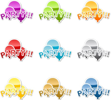 Birthday party celebration balloon sticker illustration multicolored icon set illustration
