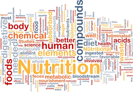 nutrient: Background concept wordcloud illustration of nutrition food health Stock Photo
