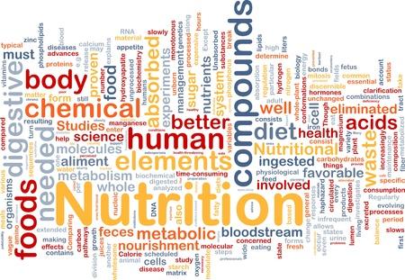 nutrici�n: Ilustraci�n de wordcloud concepto de fondo de salud de alimentos de nutrici�n