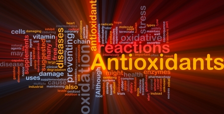 antioxidants: Background concept wordcloud illustration of antioxidants health nutrition glowing light