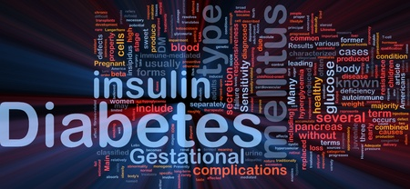mellitus: Illustrazione di wordcloud sfondo concetto di luce incandescente di diabete malattie mediche Archivio Fotografico
