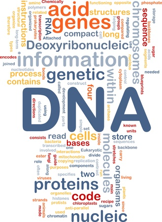 Background concept wordcloud illustration of DNA genetic information Stock Illustration - 9598908