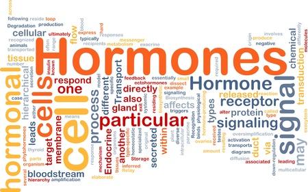 hormonas: Ilustración de wordcloud concepto de fondo de señal hormonal de hormonas