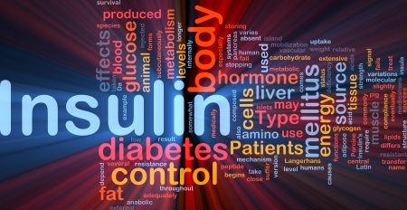 Background concept wordcloud illustration of insulin diabetes control glowing light illustration