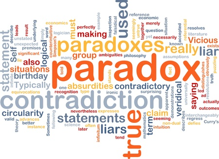 contradiction: Background concept wordcloud illustration of Paradox contradiction