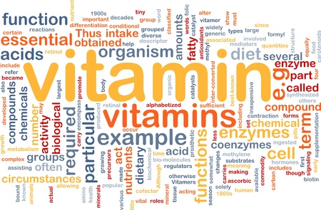 nutrients: Background concept wordcloud illustration of vitamnins health nutrients Stock Photo