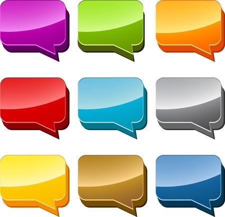 chat box: Rectangle Multicolored  speech bubble 3d icon illustration set