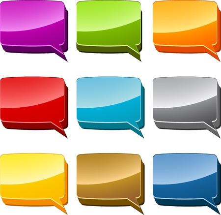 Rectangle Multicolored  speech bubble 3d icon illustration set Stock Illustration - 9914648