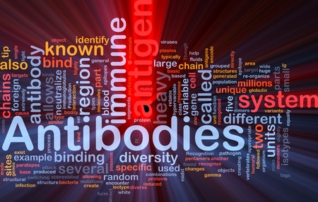 Background concept wordcloud illustration of medicine antibodies immunity glowing light illustration