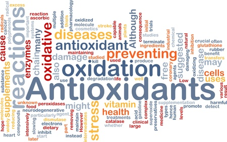 oxidative: Background concept wordcloud illustration of antioxidants health nutrition Stock Photo