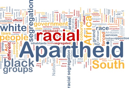 inhabitants: Background concept wordcloud illustration of apartheid Stock Photo