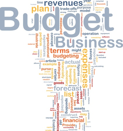 intention: Background concept wordcloud illustration of budget