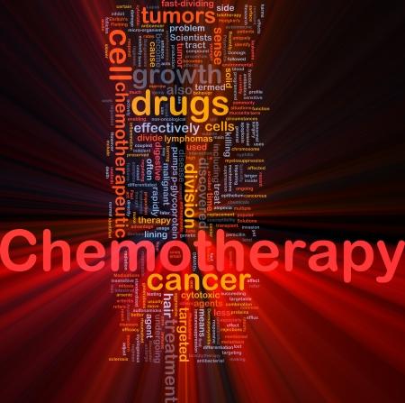 maligno: Ilustraci�n de wordcloud concepto de fondo de tratamiento m�dico de quimioterapia  luz brillante