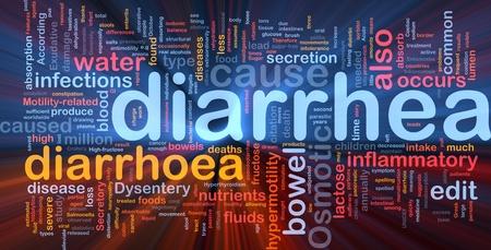 Background concept wordcloud illustration of diarrhea diarrhoea glowing light Stock Illustration - 9914664