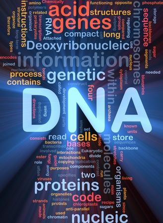 nucleotides: Ilustraci�n de wordcloud concepto de fondo de luz resplandeciente de la informaci�n gen�tica de ADN