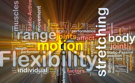 flexibility: Background concept wordcloud illustration of flexibility glowing light Stock Photo