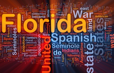 populous: Background concept wordcloud illustration of Florida American state glowing light