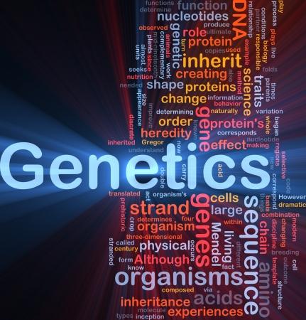 genetica: Sfondo concetto illustrazione wordcloud di geni genetica dna incandescente luce Archivio Fotografico