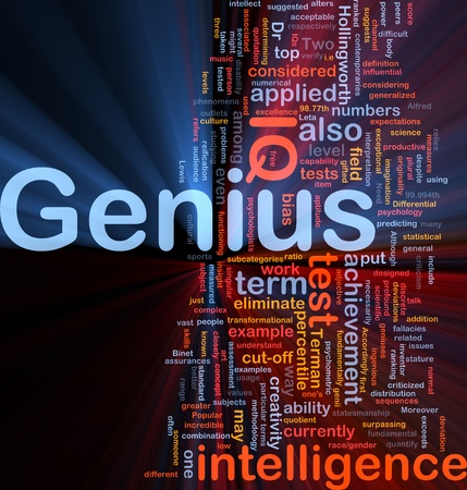 measured: Background concept wordcloud illustration of genius intelligence IQ glowing light Stock Photo