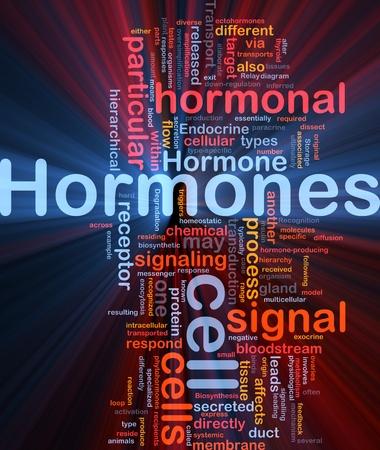 hormonas: Ilustraci�n de wordcloud concepto de fondo de la luz brillante de hormonas se�al hormonal