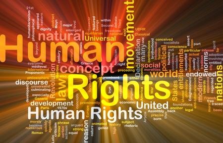 diritti umani: Concetto illustrazione sfondo wordcloud dei diritti umani luce incandescente
